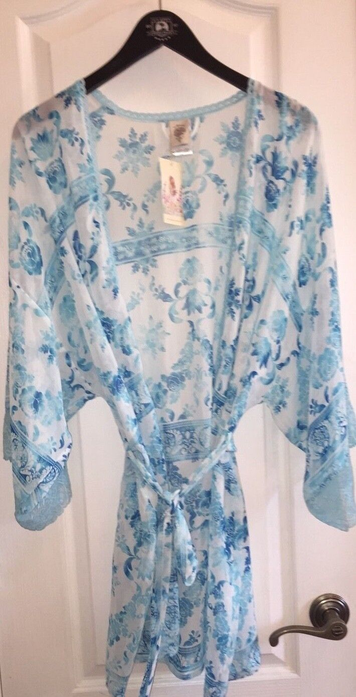NWT  In Bloom by Jonquil bluee Floral Sexy Sheer Kimono Sleeve Robe Women's