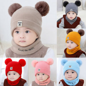 Newborn Kids Baby Boy Girl Pom Hat Winter Warm Knit Crochet Beanie Cap Scarf Set