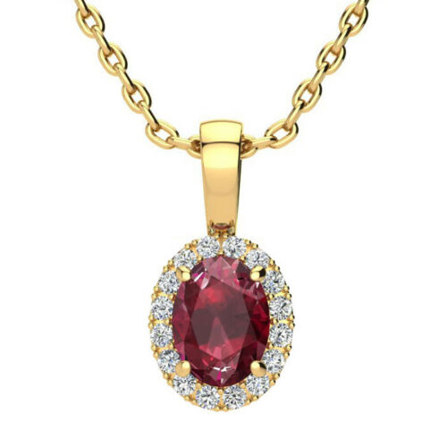 10K GOLD 1 CT OVAL RUBY AND HALO DIAMOND NECKLACE In 3 Gold Colors