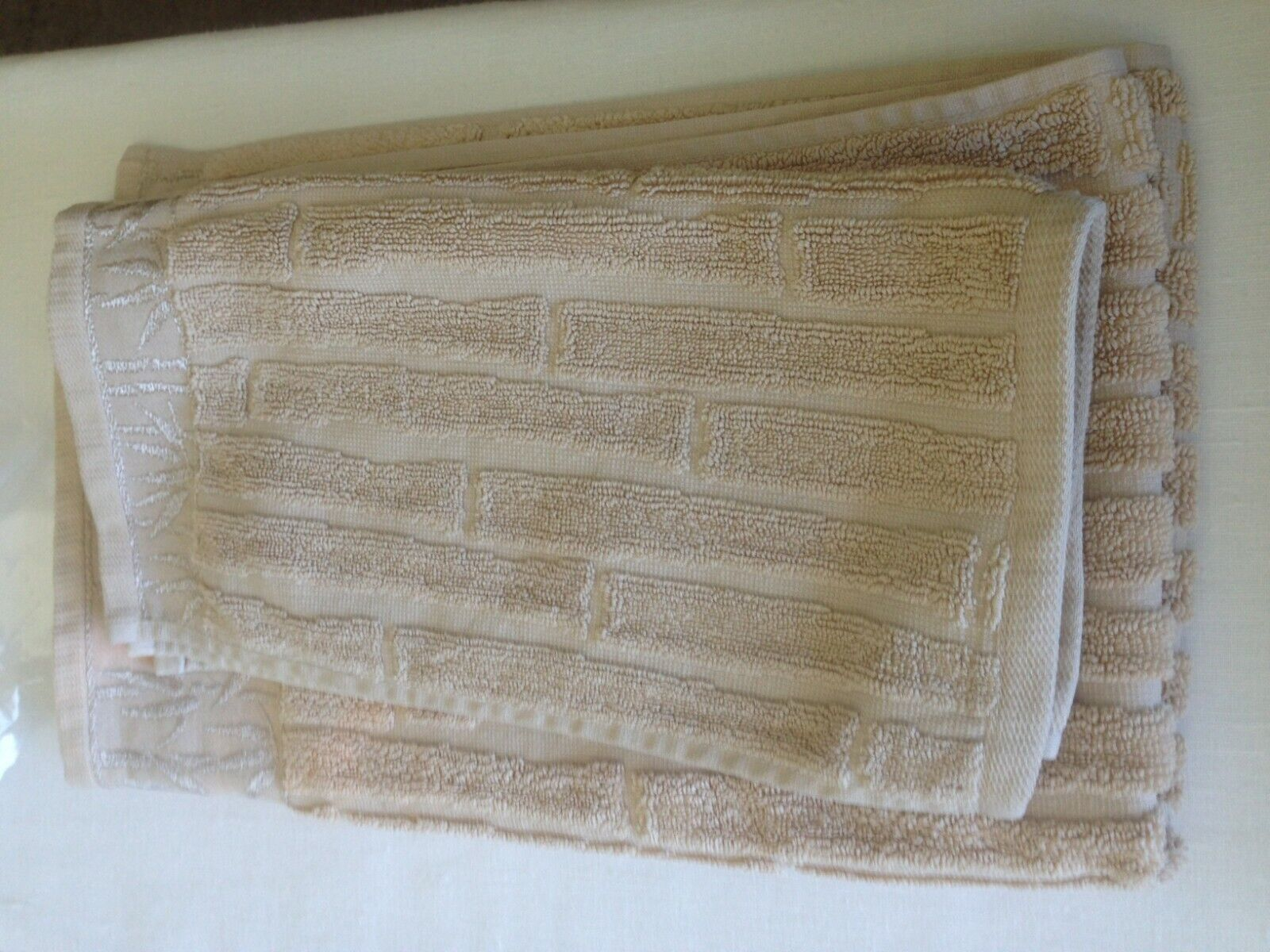 Premier Collection by Dost bamboo pattern hand and fingertip towels beige