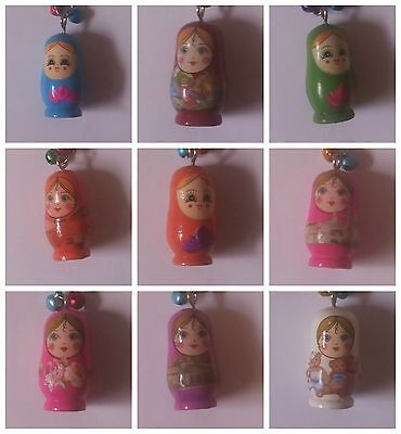 New Wooden Matryoshka Doll Keyring  Russian Doll Key chain 3.5 CM Keyfob Gift UK