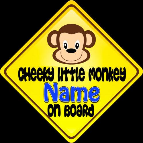Car sign Blue Cheeky Little Monkey Child on Board