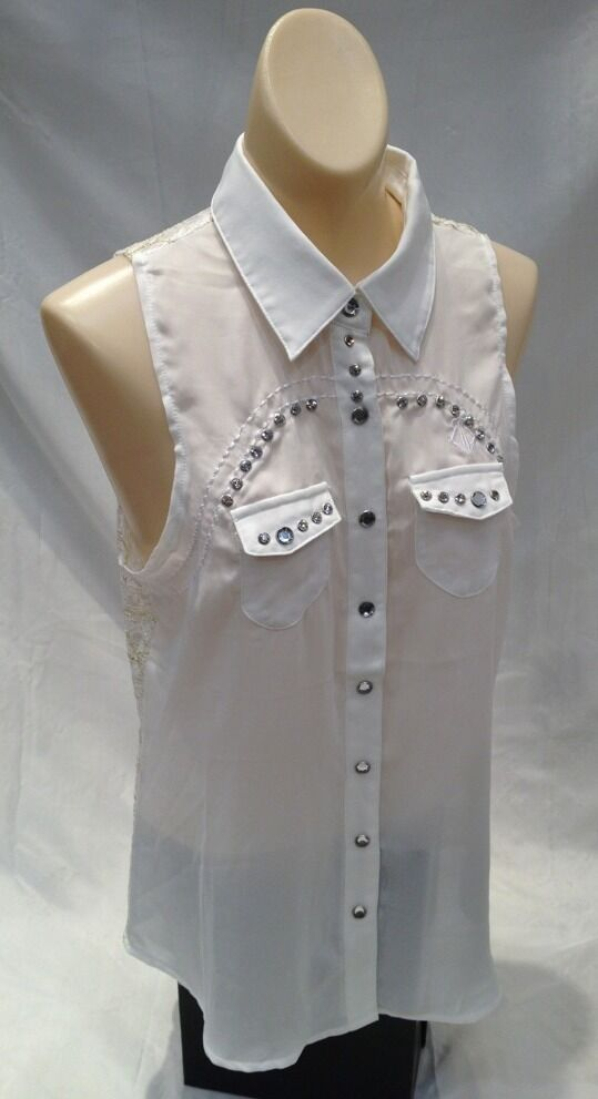 Roar Womens Button Down Shirt Sleeveless Western Tribal White Stones Bling Heart