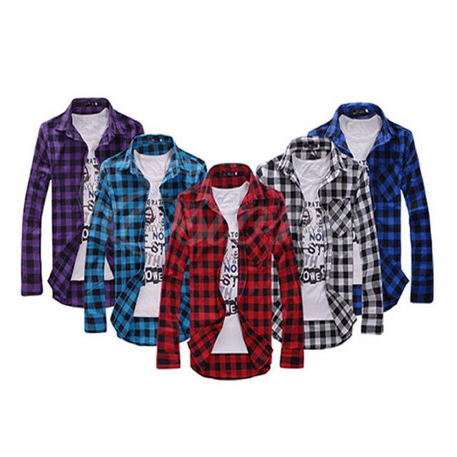 New Mens Slim Fit Casual & Dress Plaid Check Shirt Korean Style Blue Red Black