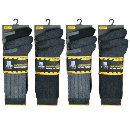 Thick Men/'s Work Socks Heavy Duty Thick Hard wearing Grey Black UK 7-11