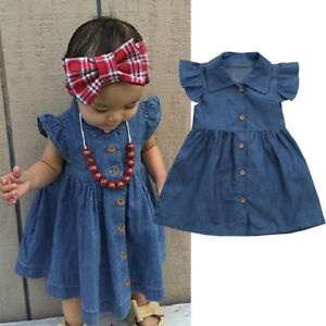 Toddler-Infant-Baby-Girls-Dress-Solid-Princess-Denim-Dresses-Outfits-Clothes