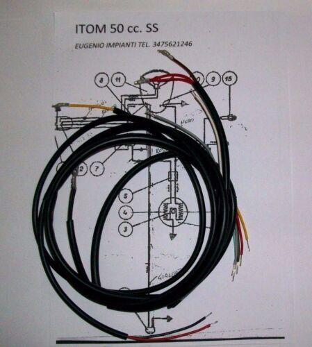IMPIANTO ELETTRICO ELECTRICAL WIRING MOTO ITOM 50 SUPER SPORT+SCHEMA ELETTRICO
