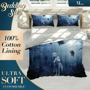 White Wolves Wild Animal Blue Quilt Doona Cover Set Fine Breathable Cotton