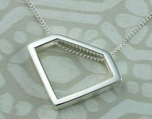 925 Sterling Silver Diamond Shape Pendant Necklace Chain