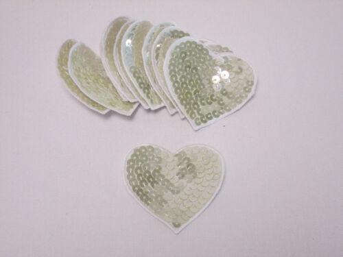 Set De 10 Bordado Lentejuelas Oro Love Corazones tarjeta haciendo motivos Parches # 18a56