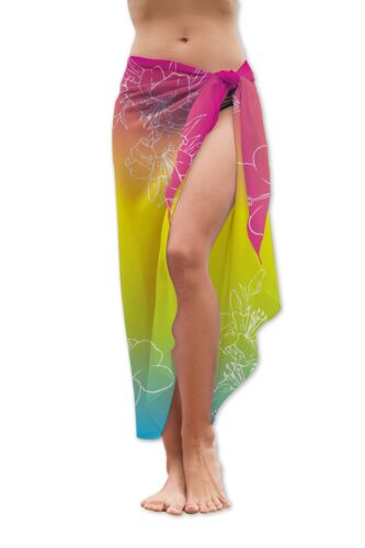 TROPICAL FLORAL DESIGN MEDIUM LENGTH CHIFFON SARONG SWIMWEAR BEACH COVER