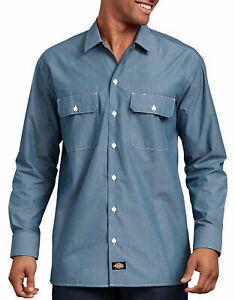 Dickies Mens Chambray Shirt Work Long Sleeve Blue Slim Fit 100/% Cotton