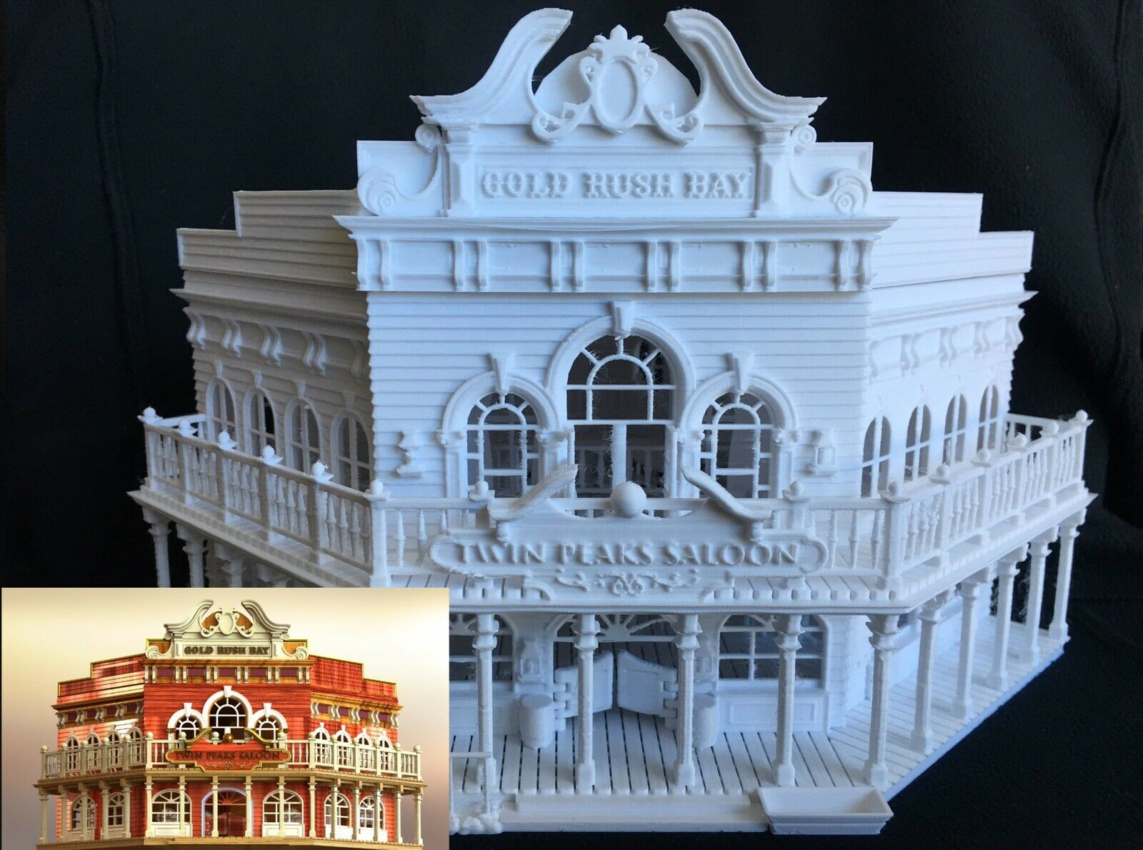Miniature Old Old Old West  1 Saloon Hotel Built Ready HO Scale Interiors Included bianca 7b7d4d