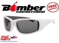 Bomber Polarized Floating Sunglasses Stink Bomb Gloss White W/ Smoke Lens Stp104