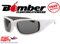 Bomber Polarized Floating Sunglasses Stink Bomb Gloss White W/ Smoke Lens Stp104