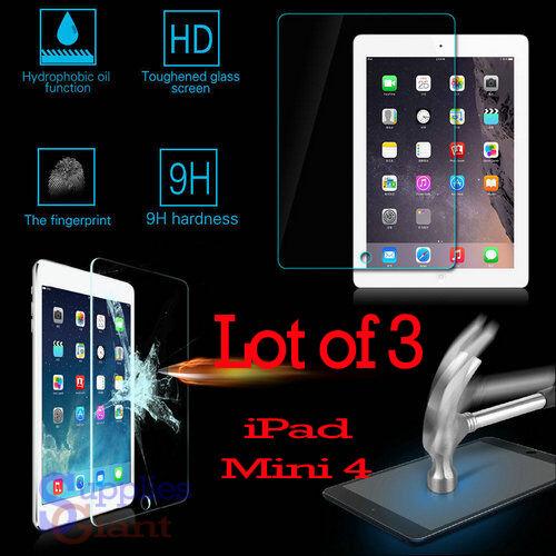 3 x 9H Premium Tempered Glass Film Screen Protector for Apple iPad Mini 4 HQ LOT