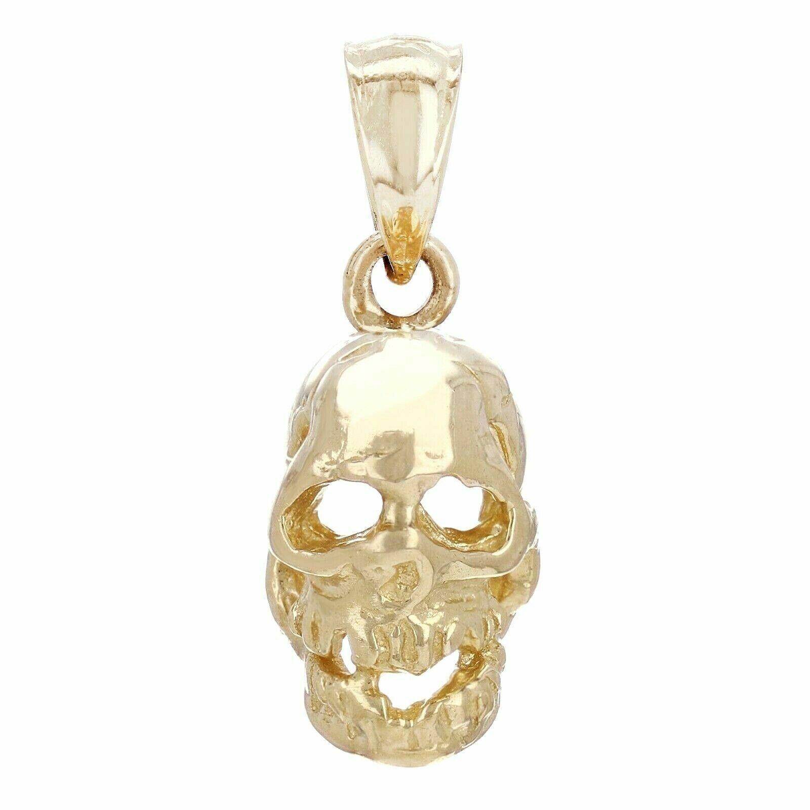14K Gold Skull Charm Pendant