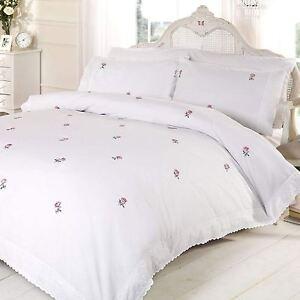 Alicia-Floral-Blanc-Rose-Set-Housse-de-Couette-Simple-Brode-Literie