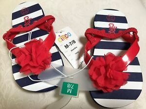 f68f1fd06 NWT Red White And Blue FLOWER FLIP FLOPS Sz 7-8 Little Girl By CIRCO ...