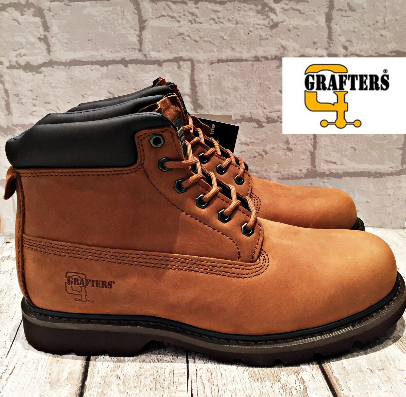 Mens Grafters tan braun Leather Work Ankle schuhe Stiefel Größe 11 padded collar