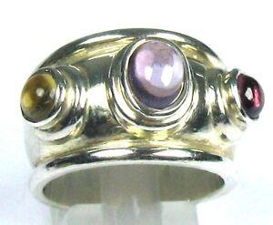 # Schwerer breiter Ring mit 3 farbigen Steinen 925 er Silber Gr. 58/18,4 mm - Hürth, Deutschland - # Schwerer breiter Ring mit 3 farbigen Steinen 925 er Silber Gr. 58/18,4 mm - Hürth, Deutschland