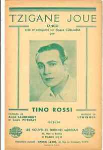 TZIGANE-JOUE-BY-TINO-ROSSI-1937-SHEET-MUSIC-PARTITION-FREE-SHIPPING