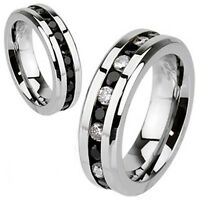 Men's 6mm Wedding Engagement Band Stainless Steel Eternity CZ Ring Sizes 5 - 13