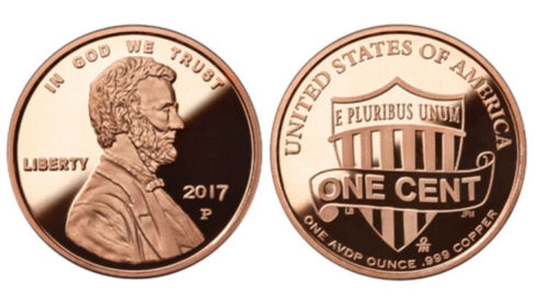Lot//Tube of 20-1 oz Copper Rounds 2017 P Lincoln Cents