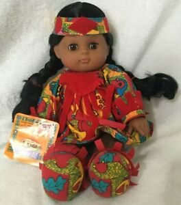 Gi-Go-Toys-Vintage-Native-American-Doll-Soft-Plush-Dolls-Tribal-Collectible
