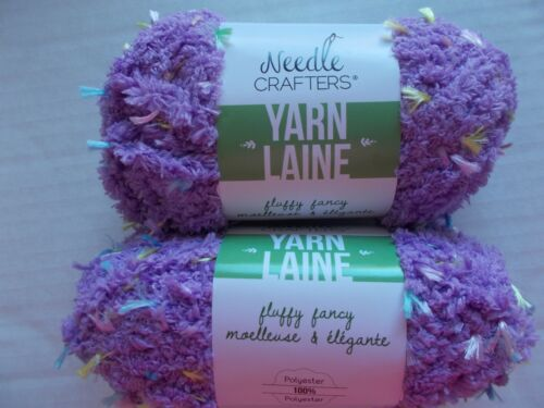 Needle Crafters Fluffy Fancy fleece yarn w// colors 27 yds ea lot of 2 Lilac