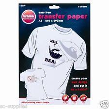 10 X A4 T SHIRT TRANSFER PAPER IRON ON LIGHT FABRICS HEAT PRESS INKJET PRINT