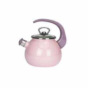 2,5L Pfeifkessel Wasserkessel Emaille Wasserkocher Teekessel Flötenkessel