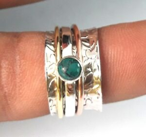Turquoise-Solid-925-Sterling-Silver-Spinner-Ring-Meditation-Ring-Size-SR6666
