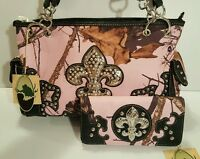 Licensed Mossy Oak Pink Camo Purse Wallet Set Muddy Forest Hunt Fleur De Lis
