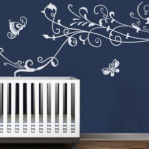 Butterflies-Flower-Wall-Decal-Inspiration-Kids-Child-Room-Vinyl-Mural-Art-Decor