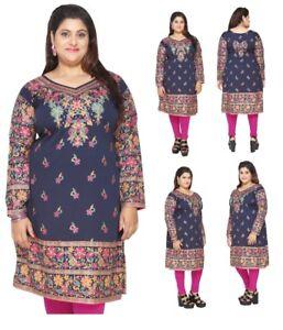 UK-STOCK-PLUS-SIZE-Women-Indian-Pakistani-Blue-Kurti-Tunic-Kurta-Top-EPLUS109C