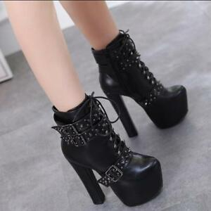 6a5091e83120 Women Sexy Block Heels Shoes Lace up Lady Platform Rivet Gothic ...