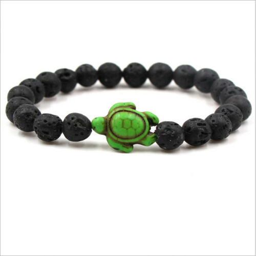New Fashion Rock Lava Volcanic Turquoise Colorful Turtle Beads Bracelets Jewelry