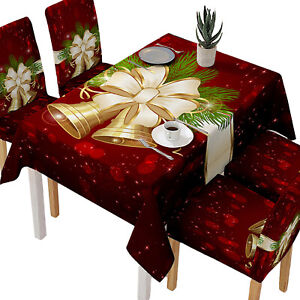 Christmas Tablecloth Rectangle Table Cloth Cover Xmas Party Dining Kitchen Decor Ebay