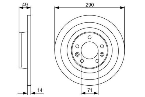 Arrière solid disques de frein 290mm fiat scudo 07-15 270 2.0 d multiflamme 1.6 d multiflamme