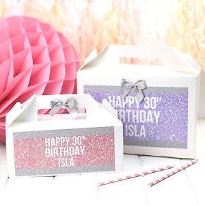 Personalizzata-Compleanno-Regalo-Box-Sparkle-Glitter-Bling-Gallina-Favore-BAG
