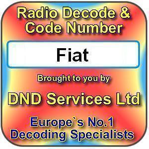 Fiat Radio Cassette CD código decodificar servicio de desbloqueo por número de serie