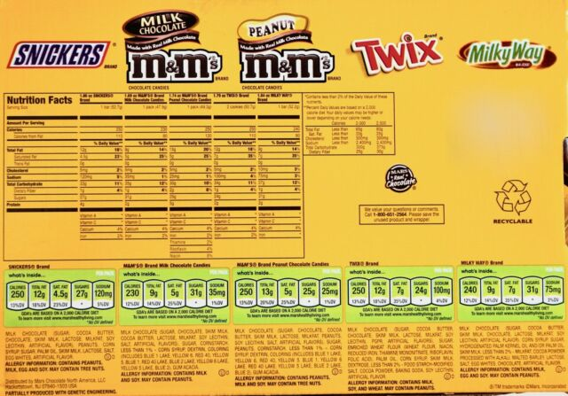 fun size candy bar nutrition facts