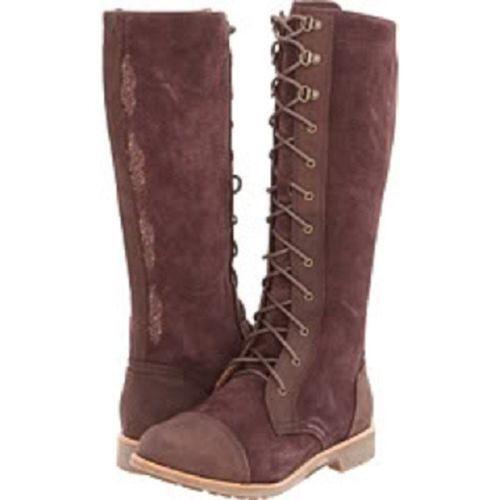 OluKai Kaila Women's Suede Tall Boots, Dark Java/Dark Wood SIZE 9 W ()