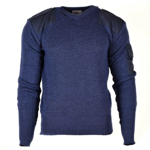 Original British army pullover V-Neck Commando Jumper Blue sweater Wool blue