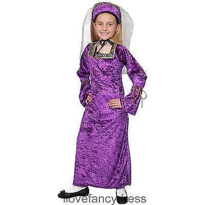 Girls Blue Rich Posh Medieval Tudor Princess Queen Fancy Dress Costume Outfit