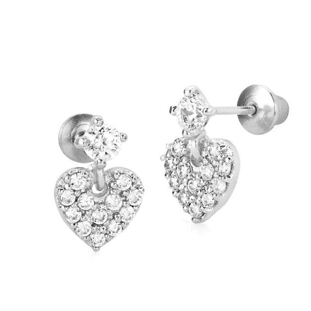 be31ebbca 925 Sterling Silver Dangle Pave Heart Children Screwback Baby Girls Earrings