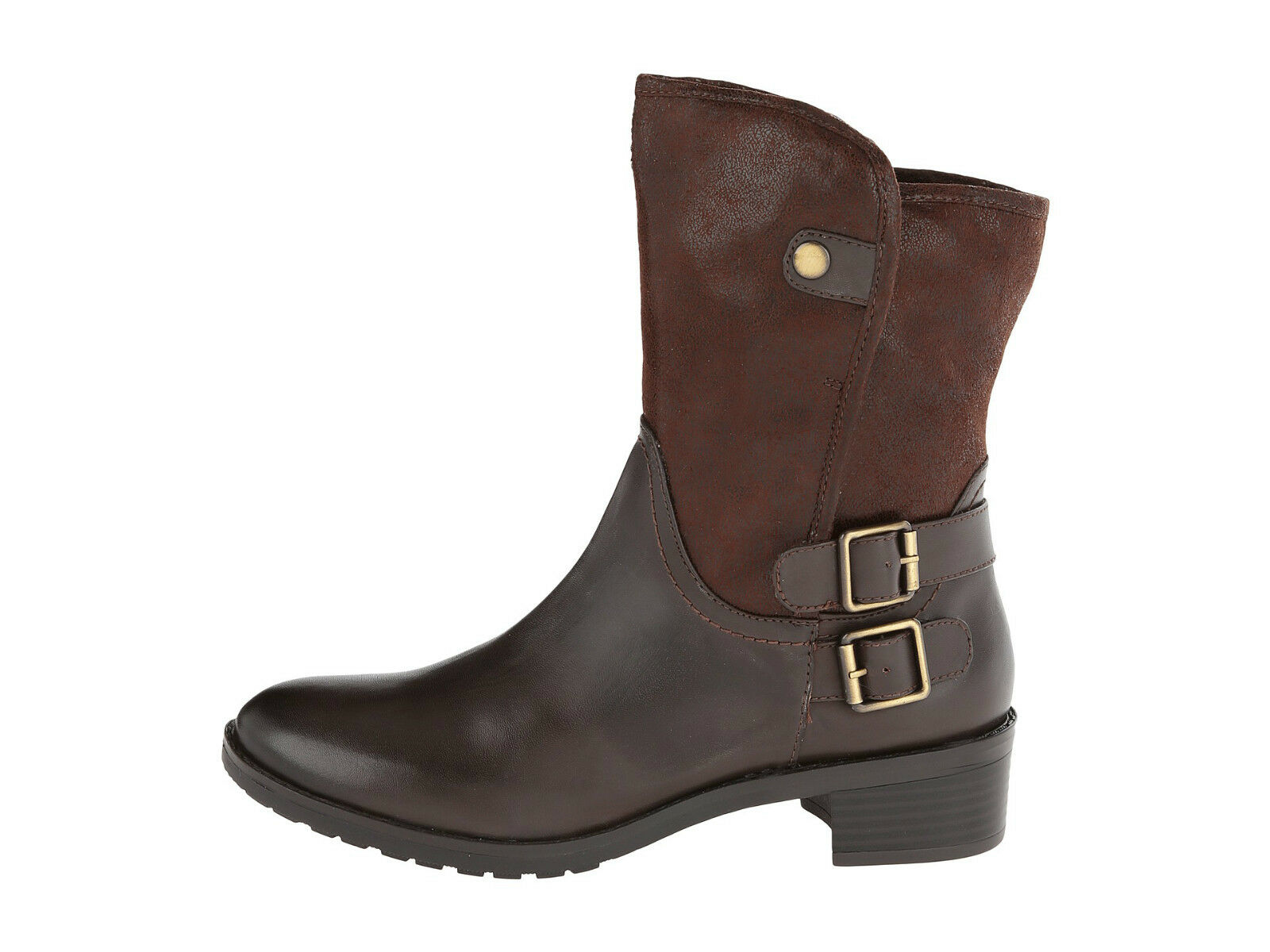129 Naturalizer Women Metro Brown Faux Leather Motorcycle Style Boot sz 5.5M