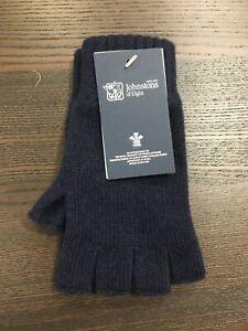 100% Cashmere Fingerless Gloves | Johnstons of Elgin | Made in Scotland | Navy