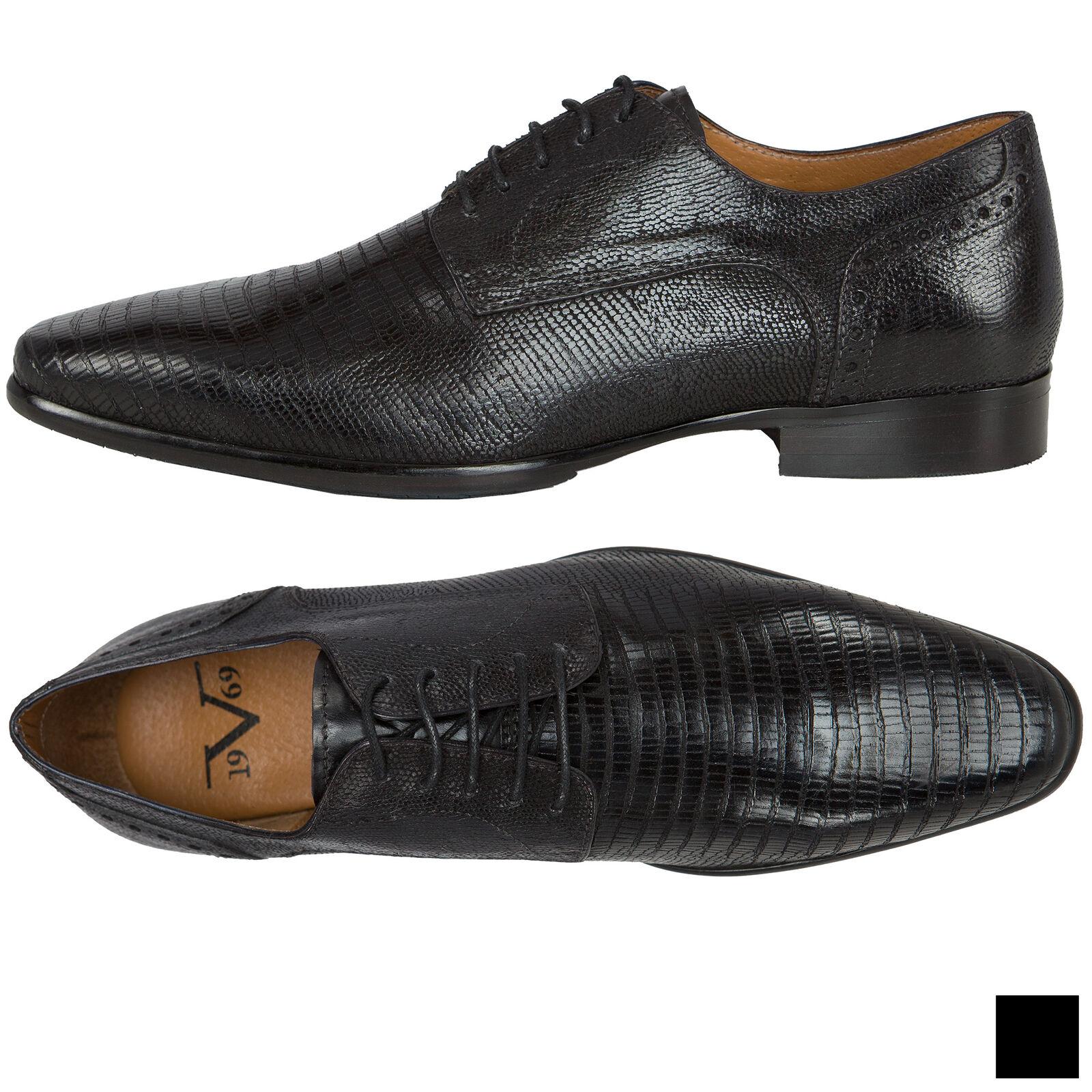 19V69 Versace 1969 Leder Business Schuhe, Herren (V47)